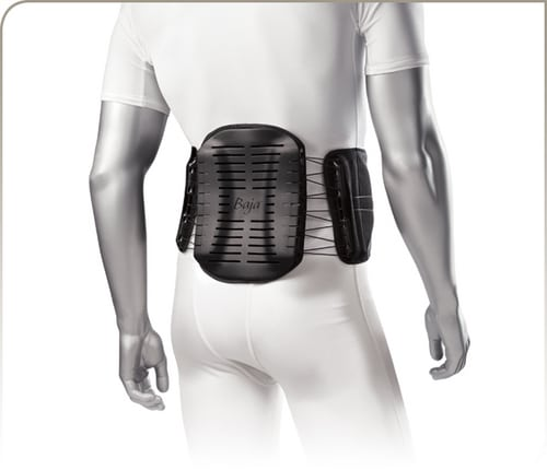 The Bio Skin Baja 627. This is an example of a rigid brace that can stabilize the spine and help with herniated disc injuries.