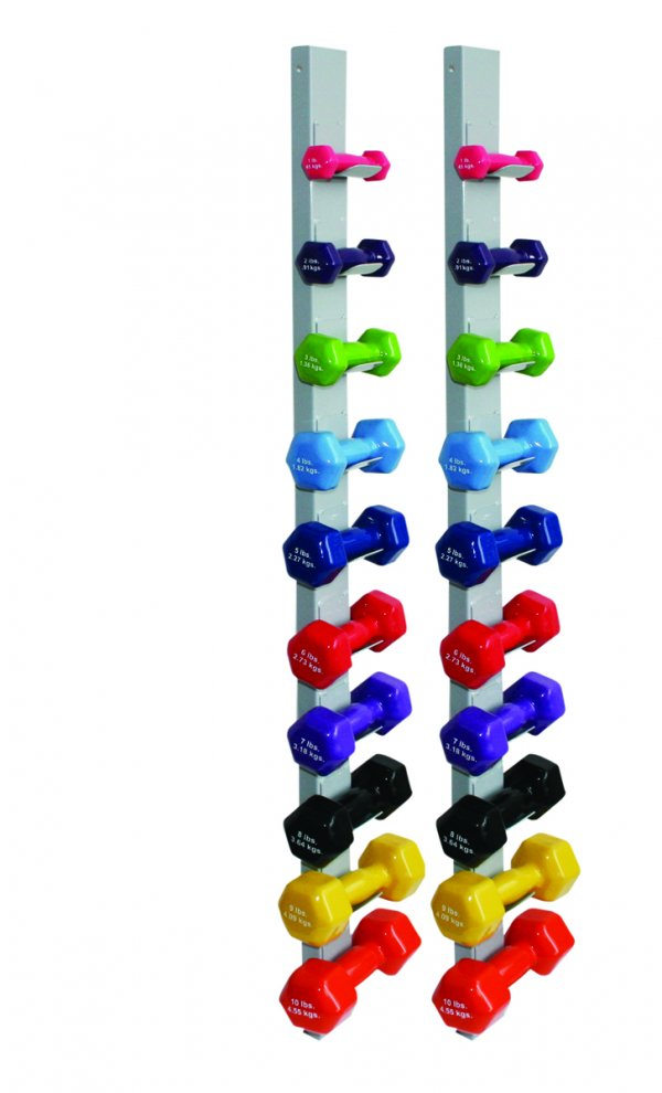 Vinyl Coated Dumbbell 20 Piece Set with 2 Wall Racks