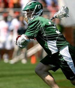 A Lacrosse player. The fast moving nature of the sport makes lacrosse injuries a constant factor in the sport.