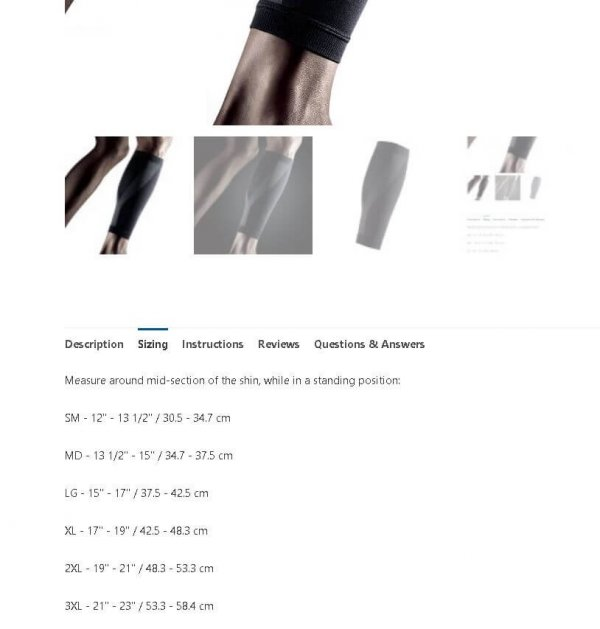 LP EmbioZ Calf Compression Sleeve - Sizing