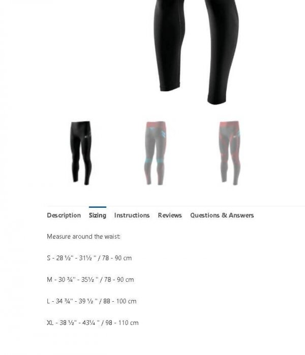 LP EmbioZ Leg Support Compression Tights - Sizing