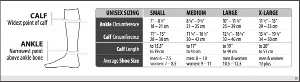 Legend Business Ribbed Sizing Chart