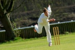 A fast bowler just after delivery - these players are most likely to benefit from using ankle braces for cricket