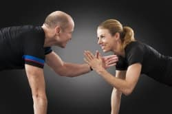 Finding an exercise partner can be an effective way to keep fit while staying at home.