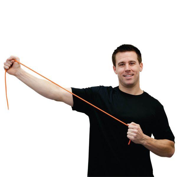Man holding Low Powder Exercise Tubing Rolls